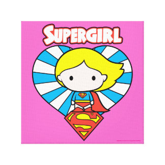 Chibi Supergirl Starburst Heart and Logo Canvas Print