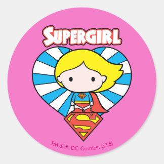 Chibi Supergirl Starburst Heart and Logo Classic Round Sticker
