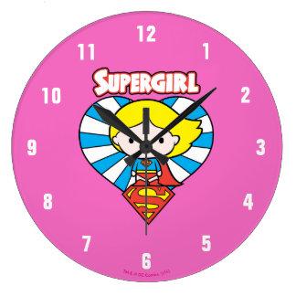 Chibi Supergirl Starburst Heart and Logo Large Clock