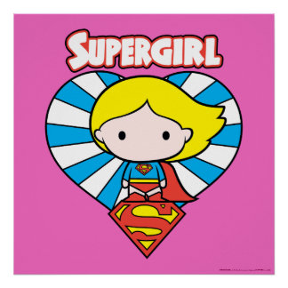 Chibi Supergirl Starburst Heart and Logo Poster