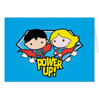 Chibi Superman & Chibi Supergirl Power Up! Card