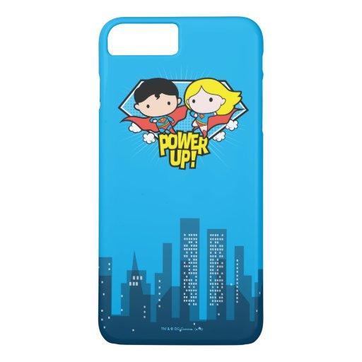 Chibi Superman & Chibi Supergirl Power Up! iPhone 8 Plus/7 Plus Case