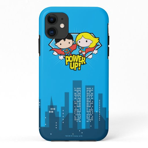 Chibi Superman & Chibi Supergirl Power Up! iPhone 11 Case