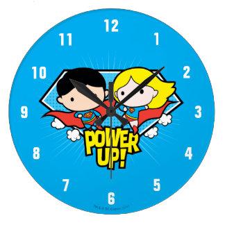 Chibi Superman & Chibi Supergirl Power Up! Large Clock