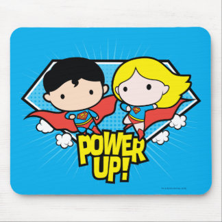 Chibi Superman & Chibi Supergirl Power Up! Mouse Pad
