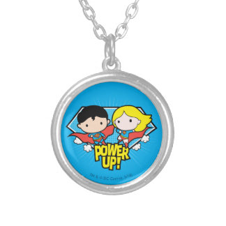 Chibi Superman & Chibi Supergirl Power Up! Silver Plated Necklace