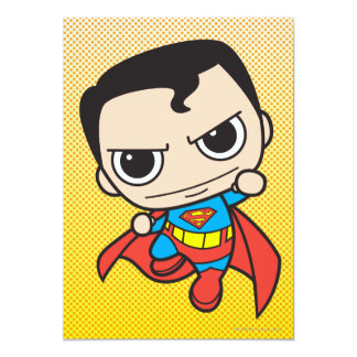 Chibi Superman Flying 5x7 Paper Invitation Card