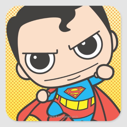 Chibi Superman Flying Square Sticker