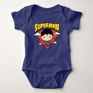 Chibi Superman Polka Dot Shield and Name Baby Bodysuit