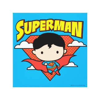 Chibi Superman Polka Dot Shield and Name Canvas Print
