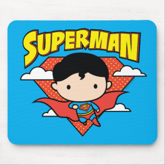 Chibi Superman Polka Dot Shield and Name Mouse Pad
