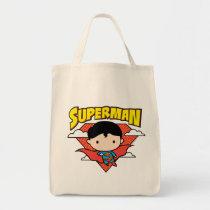 chibi superman, red polka dot, clouds, super hero, justice league, dc comics, superman logo, superman name, Bag with custom graphic design