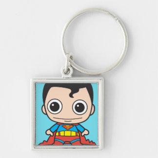 Chibi Superman Silver-Colored Square Keychain