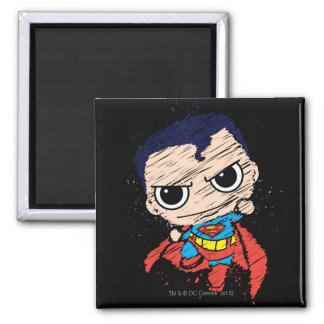 Chibi Superman Sketch - Flying 2 Inch Square Magnet