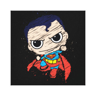 Chibi Superman Sketch - Flying Stretched Canvas Prints