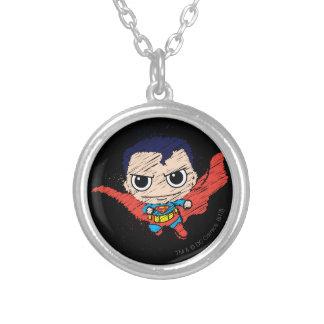 Chibi Superman Sketch Round Pendant Necklace