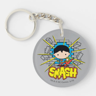 Chibi Superman Smashing Through Brick Wall Keychain