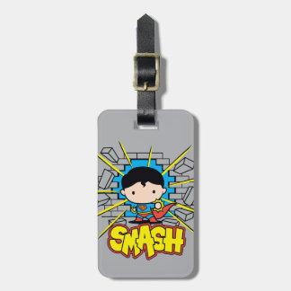 Chibi Superman Smashing Through Brick Wall Luggage Tag