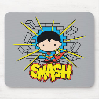Chibi Superman Smashing Through Brick Wall Mouse Pad