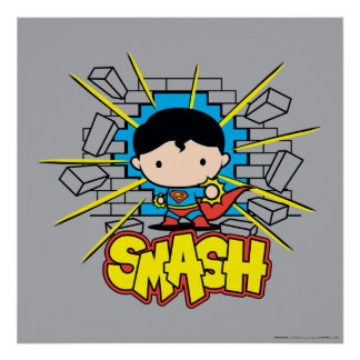 Chibi Superman Smashing Through Brick Wall Poster