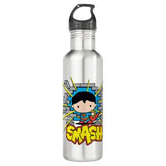Chibi Superman Smashing Through Brick Wall Stainless Steel Water Bottle