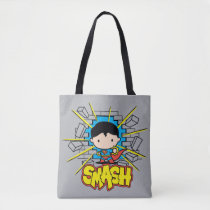 chibi superman, smash, brick wall, super hero, justice league, dc comics, action, punch, [[missing key: type_manualww_tot]] with custom graphic design