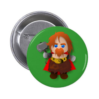 Chibi Thor with Hammer Pinback Button