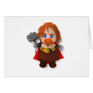 Chibi Thor with Hammer Greeting Card