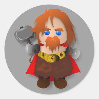Chibi Thor with Hammer Classic Round Sticker
