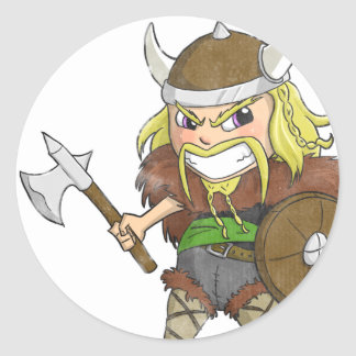 Chibi Viking (Distressed) Classic Round Sticker