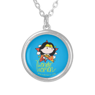 Chibi Wonder Woman Flying With Lasso Silver Plated Necklace