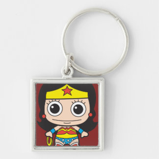 Chibi Wonder Woman Silver-Colored Square Keychain