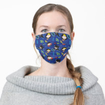 Chibi Wonder Woman, Superman, and Batman Pattern Adult Cloth Face Mask