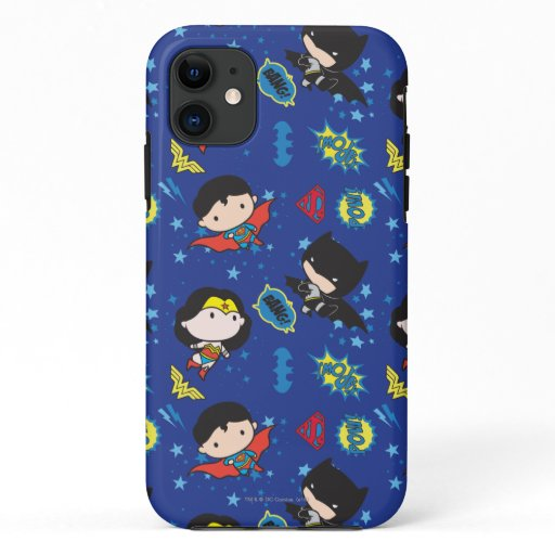 Chibi Wonder Woman, Superman, and Batman Pattern iPhone 11 Case