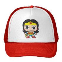 batman, cat woman, superman, wonder woman, batgirl, flash, dc comics, justice league, chibi super heroes, japanese toy cartoon, Trucker Hat with custom graphic design
