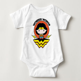 Chibi Wonder Woman With Polka Dots and Logo Baby Bodysuit