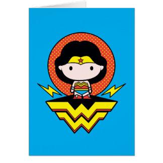 Chibi Wonder Woman With Polka Dots and Logo Card