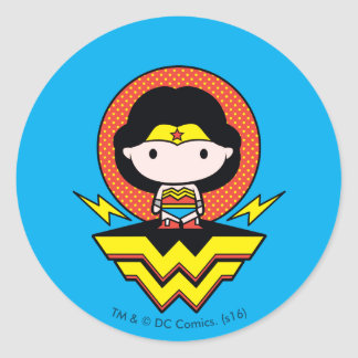 Chibi Wonder Woman With Polka Dots and Logo Classic Round Sticker