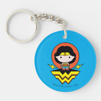 Chibi Wonder Woman With Polka Dots and Logo Keychain