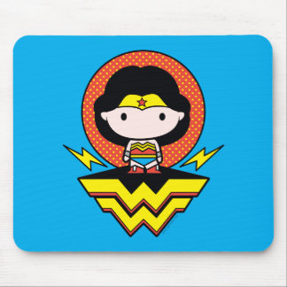 Chibi Wonder Woman With Polka Dots and Logo Mouse Pad