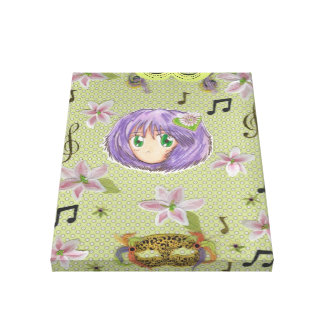 Chibi Yuriko w/ Lily Flower collage Stretched Canvas Print