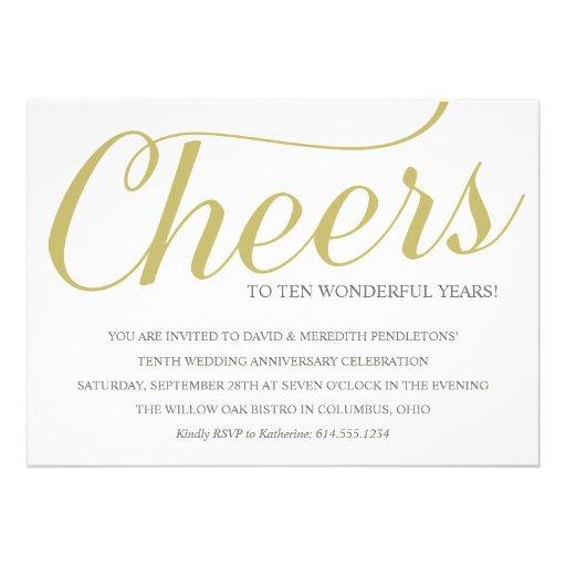 "Chic 10th Wedding Anniversary Party Invitation 5"" X 7"