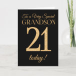 """Chic 21st Gold-effect Black Grandson Birthday Card<br><div class=""""desc"""">A chic 21st Birthday Card for a &#39;Very Special Grandson&#39;,  with a number 21 composed of gold-effect numbers and the word &#39;Grandson&#39;,  in gold-effect,  on a black background. The inside message,  which you can change if you wish,  is &#39;Happy Birthday&#39;</div>"""