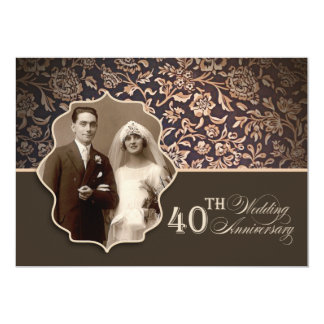 chic 40th anniversary photo invitations