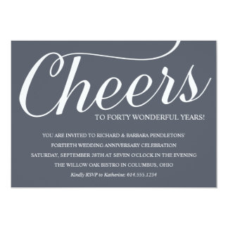 Chic 40th Wedding Anniversary Party Invitation