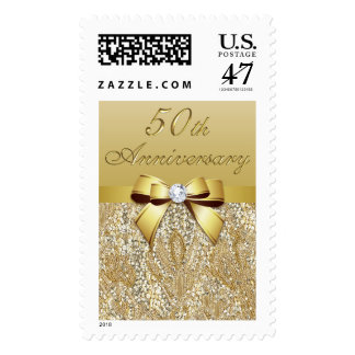 Chic 50th Gold Wedding Anniversary Sequins and Bow Postage Stamp