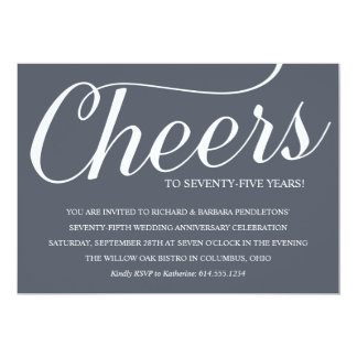 Chic 75th Wedding Anniversary Party Invitation