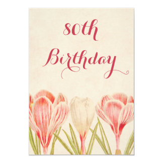 Chic 80th Birthday Spring Crocuses 5x7 Paper Invitation Card