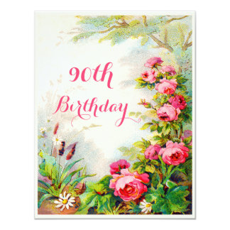 Chic 90th Birthday Victorian Roses Cottage Garden 4.25x5.5 Paper Invitation Card