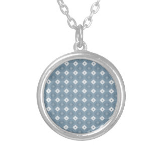 Chic Abstract Diamond Blue Round Pendant Necklace